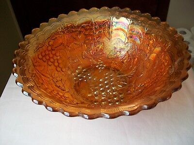 """Imperial Carnival Glass Round Bowl Marigold Iridescent 10"""""""