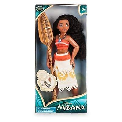 """New Disney Store 2016 Moana Classic 11"""" Doll With Paddle Accessory Barbie Toy"""