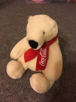 COCA-COLA Plush Polar Bear Scarf Embroidery Stuffed toy Collectible Coke
