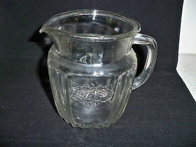 Vintage Small Pitcher Clear Pressed Glass Flowers Water Orange Juice