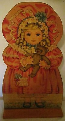 "19"" Unique Vintage Handmade Wooden Two-Sided Doll Girl Figure Door Stop Wedge"