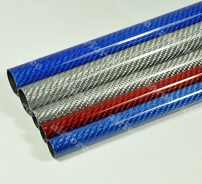 2pc OD24mm*ID22mm*500mm Length Glossy Surface 3K Carbon Fiber Tube Color Painted