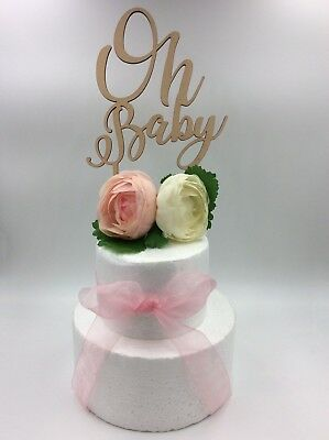 1Pc Laser Cut Cake Topper Oh Baby Girl Boy Wooden Wood Birthday Party Supplies