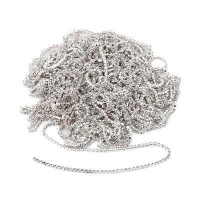 10yd Silver Clear Glass Rhinestone Close Cup Chain Trimc Clothes Jewelry Making