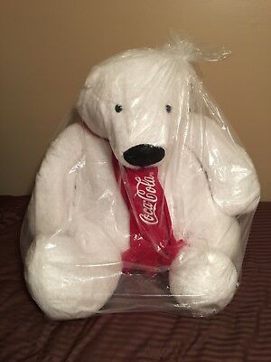 "Large Coca Cola Polar Bear Plush Brand New Limited Edition 30"" In Factory Bag"