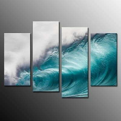 Modern Sea Waves Wall Art Painting For Living Room 4 Panels Canvas Print