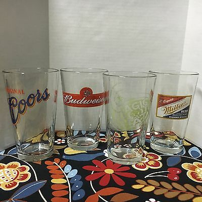 Set Of 4 Different Clear 16 Ounce Beer Glasses Miller Budweiser Coors Magic Hat