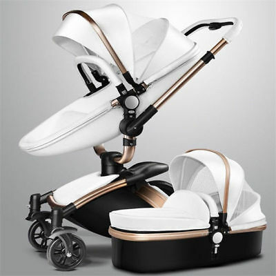 3 in 1 Baby Stroller Leather Two-way Shock Absorbers Pushchairs Bassinet Pram