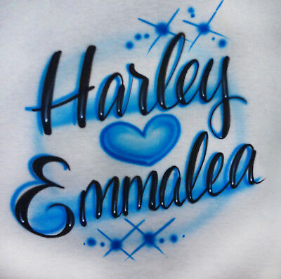 804b4c646eaa Airbrushed Personalized Two Names Couple Heart T-shirt Hoodie Pillowcase
