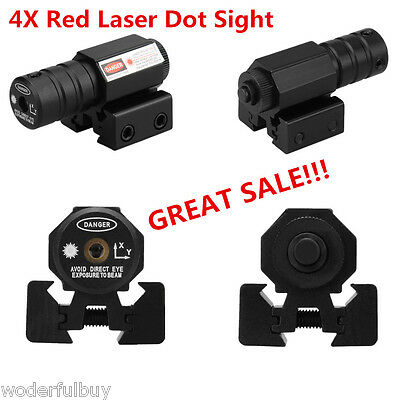 4PCS Universal Laser Dot Sight Stark Laserpointer Rail Slots Beam + Scope Mount