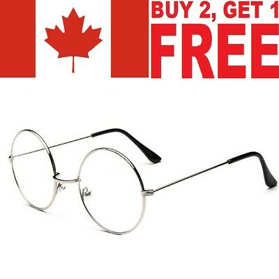 New Women Men Large Metal Frame Clear Lens Round Circle Eye Glasses Nerd Vintage