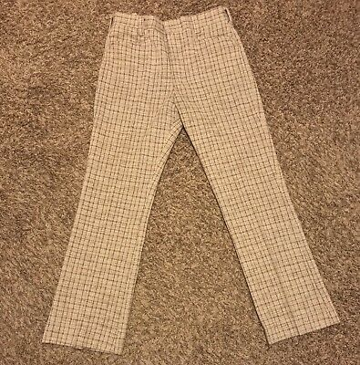 VINTAGE 70's Disco Plaid Polyester Slacks Pants Knit Mens Size 33x31