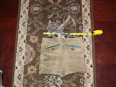 Vintage Authentic Nubuck Leather Girl's Oktoberfest Lederhosen Pants Size 10 US