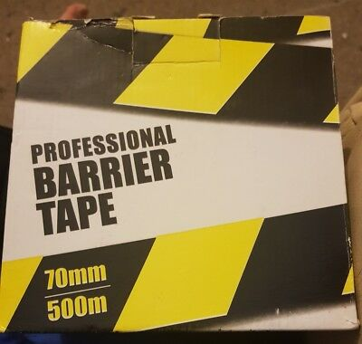 Barrier Tape Safety Hazard Warning Non Adhesive Yellow & Black 70mm x 500m Boxed