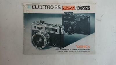 Yashica Electro 35 GSN / GTN  SLR Camera Owners Instruction Manual