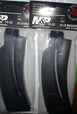 Lot of 2 - Smith & Wesson M&P 15-22 22lr 10 Round Magazine Long Body 10rd 19923