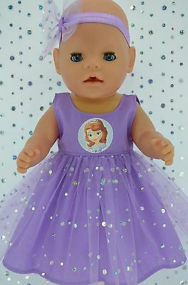 "Play n Wear Doll Clothes To Fit 17"" Baby Born LILAC SEQUIN DRESS~HEADBAND"