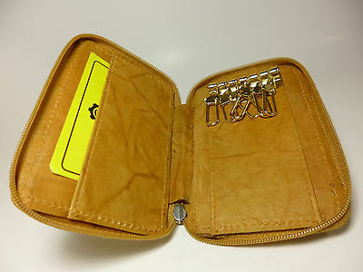 Marshal 6-Key Leather Zippered Key Case w/2+ C.Cards+Bill Storage-SAVE $1.00#412