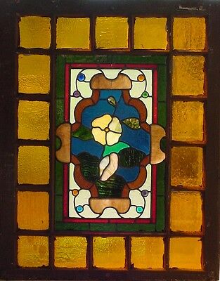Antique American Stained Glass Floral Window