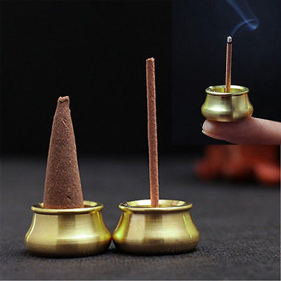 Mini Brass incense Burner Bowl Holder Cone Plate Censer