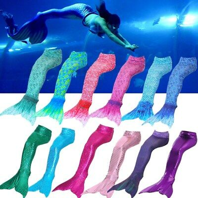 Women Kids Girls Mermaid Tail Monofin Swimming Costumes Swimmable Flippers AU