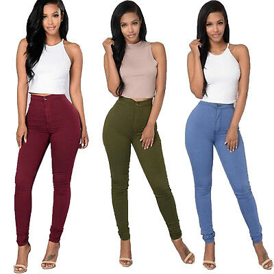 Women Pencil Stretch Casual Look Polyester Skinny Jeans Pants High Waist Trouser