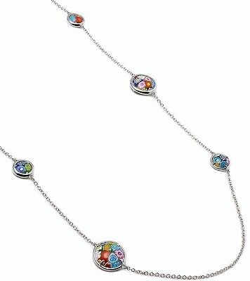 """Alan K. Multicolor Murano Millefiori Double-Sided 14Mm & 10Mm Round Necklace 32"""""""