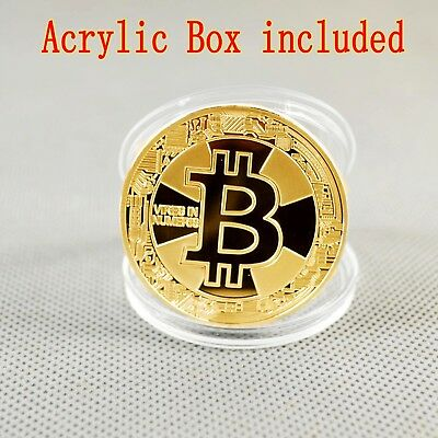 BITCOIN!! Gold Plated Physical Bitcoin in protective acrylic case 2018 FAST SHIP