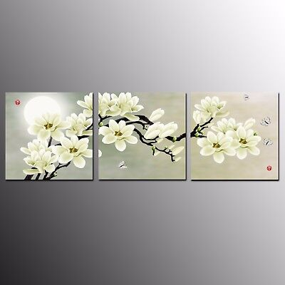 Modern Wall Art Canvas Painting Print for Home Decor Magnolia Flower 3pcs