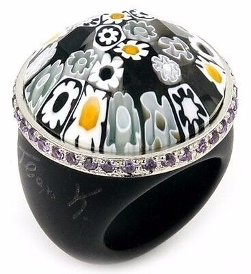 Alan K Murano Grand Collection Faceted Black Round Glass Ring Purple Cz Ring.new