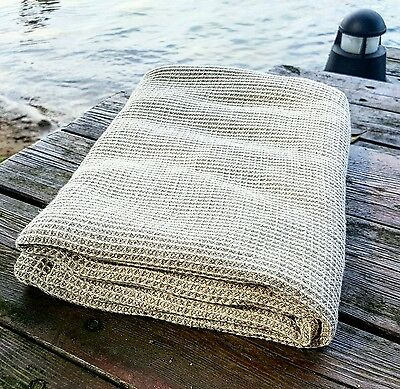 Linen bath towel, Lithuanian pure washed waffle towel linen bath big sauna towel