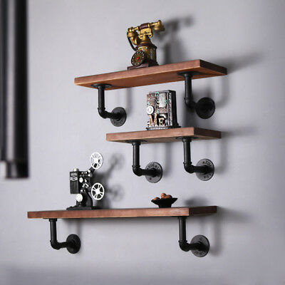 Set of 3 Vintage Industrial Wall Mount Iron Pipe Shelf Rustic Urban Wooden Unit