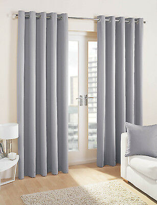 GREY Pair of Eyelet  Curtains  BLACKOUT/ DIM OUT regular and extra wide