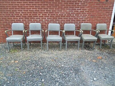 Lot of 6 Vintage Steelcase Arm Chairs Mid Century Tanker Industrial  NO RESERVE