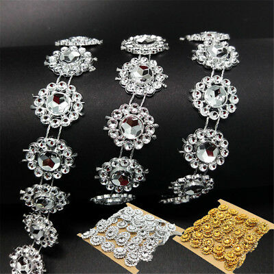 2 Yd DIY Rhinestone Trim Crystal Chain Beaded Applique Sew/Iron on Bridal Dress
