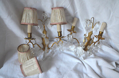 Pair of vintage French 2 armed bronze wall sconces with prisms and shades