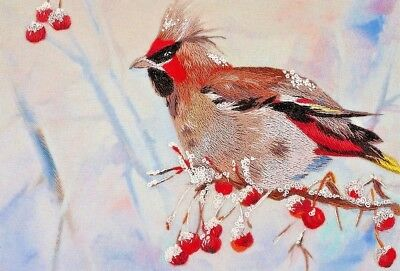 """New Crewel Embroidery Kit """"Waxwing"""" Birds"""