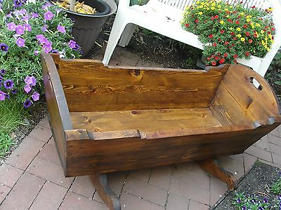Vintage Large Heavy Thick Solid Wood Rocking Baby Cradle Bed PICK UP Bristol, Pa