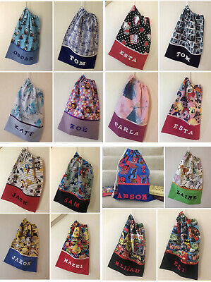 Personalised Print Library Bags / Book Bags  - Various Fabrics Available -