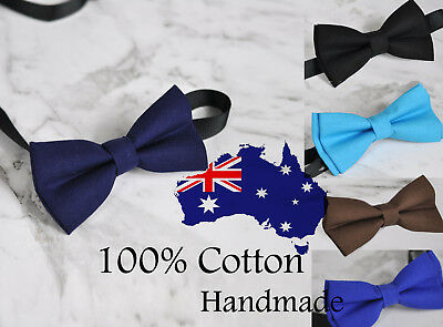Men 100% Cotton Solid Craft Bow Tie Bowtie Wedding Party BLACK NAVY BLUE Brown