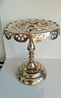 "Antique Solid Brass Pierced Kettle Trivet / Plant Pot Stand, 10"" High & Heavy"