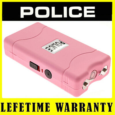 POLICE STUN GUN MINI 800 PINK 6BV Rechargeable With LED Flashlight + Taser Case