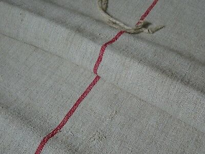 Antique European Feed Sack GRAIN SACK Red Stripe # 9614
