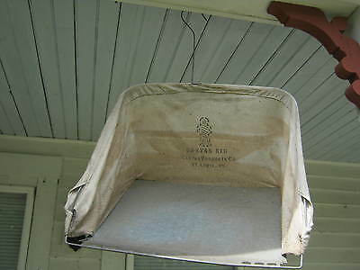 Vintage Canvas Kid Reel Mower Grass Clippings Catcher, Country Farm Barn Decor