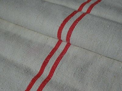 Antique European Feed Sack GRAIN SACK Red Stripe # 9630