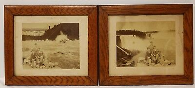 Pair of Antique Photographs Early Photoshop Niagara Falls in Oak Photo Frames