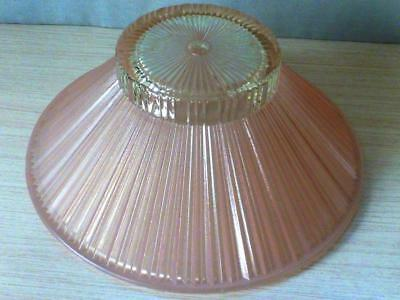"Vtg.1940's1950's  Pink Glass Ribbed Ceiling Light Shade Cover~10-1/2"" Diameter"
