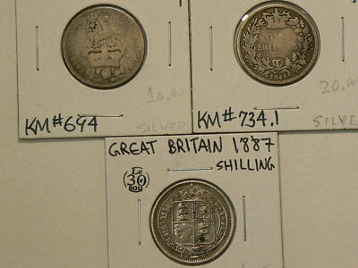1826  1845 1887 Great Britain Silver Shillings Lot of 3  #G8442