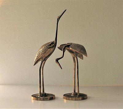 Vintage Solid Brass Pair of Cranes Birds