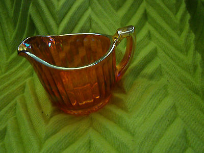 "Vintage IMPERIAL CARNIVAL GLASS ""LUSTRE & CLEAR"" CREAMER RIBBED PATTERN~MARIGOLD"